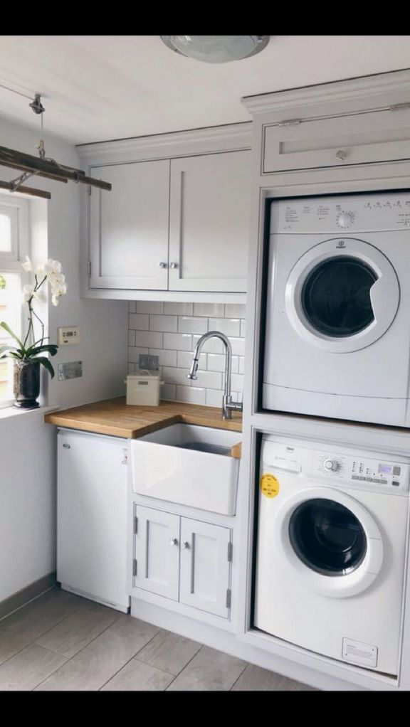 40 Things You Should Know About Laundry Room Stacked Washer And Dryer Small Spaces 26 Freehome Laundry Room Closet Laundry Room Bathroom Laundry Room Remodel