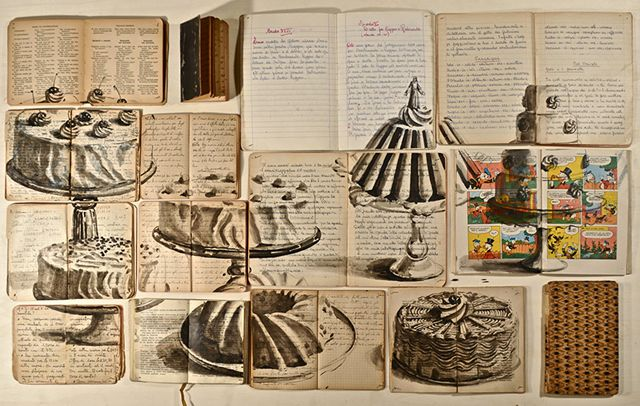 Russian artist Ekaterina Panikanova places old books and other documents together and paints over them to create the most beautiful installations. Below are some pieces from her exhibition Un, due, tre, fuoco in Rome earlier this year.