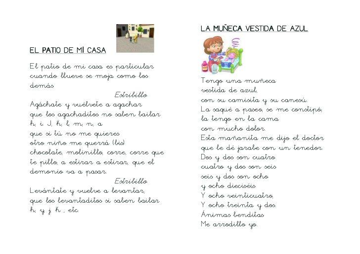 Canciones Infantiles Tradicionales Letra De Cole 10 728 Jpg 728 515 Spanish Kids Stories For Kids Words
