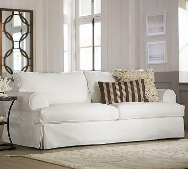 Plymouth Slipcovered Sofa Potterybarn Made In Usa Deep Cushions 39 Inches