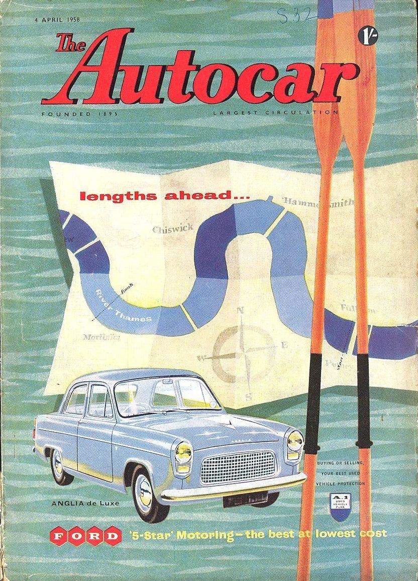 Autocar Magazine Cover April 4 1958, Ford Anglia 100E