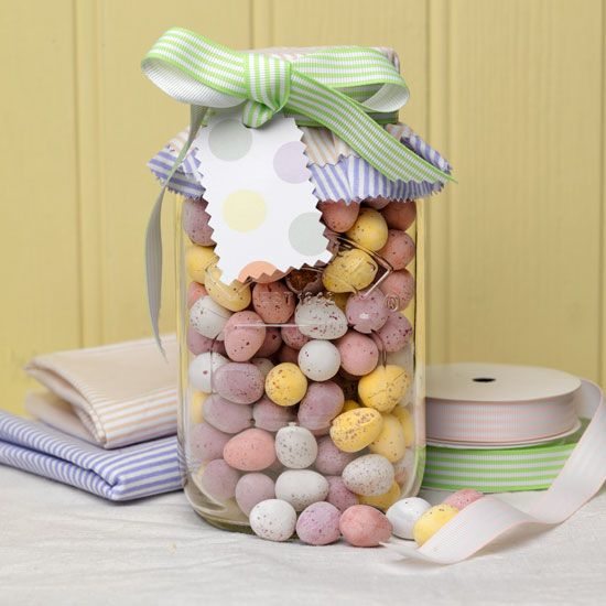 Fill with chocolate eggs and add pastel fabrics and ribbon easter idea fill kilner jars with easter eggs negle Image collections
