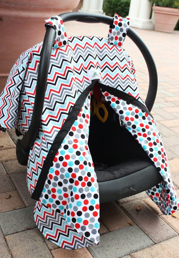 Reversible Car Seat Canopy  Celebration Chevron & by NotyBaby, $44.00