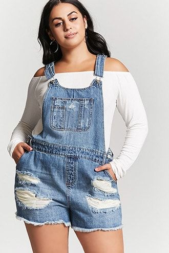 Plus Size Denim Overall Shorts Denim Pinterest Forever21