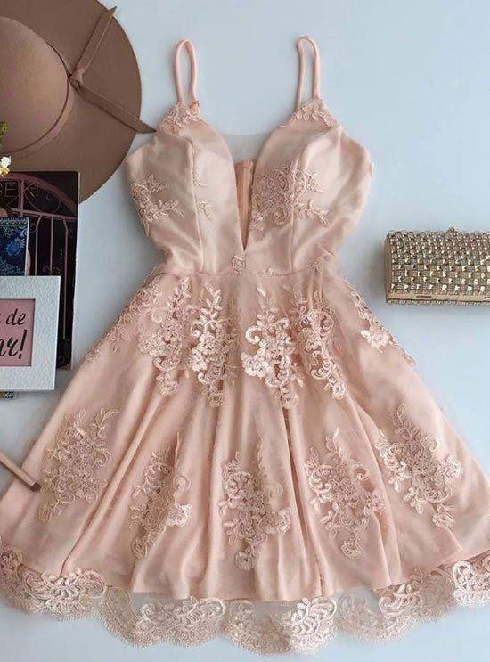 Cute Lace Prom Dress, Sexy Spaghetti Straps Prom | Fashion ...