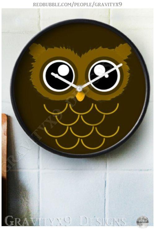 * Owl  Clocks by | Redbubble * Cute Kawaii style owl with big eyes. * custom wall clock home decor