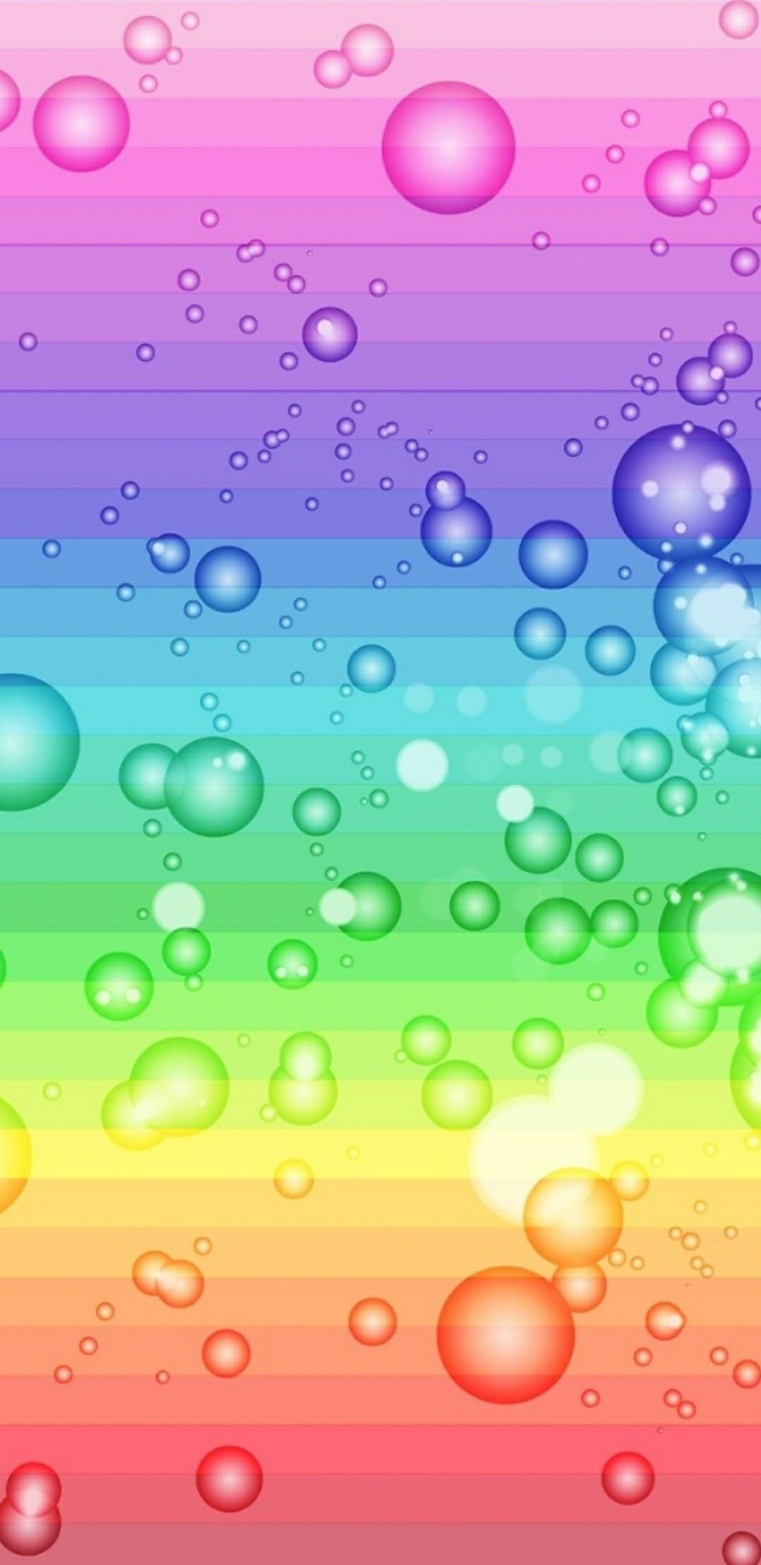 Rainbow Stripes And Bubbles Wallpaper Pink Colorful