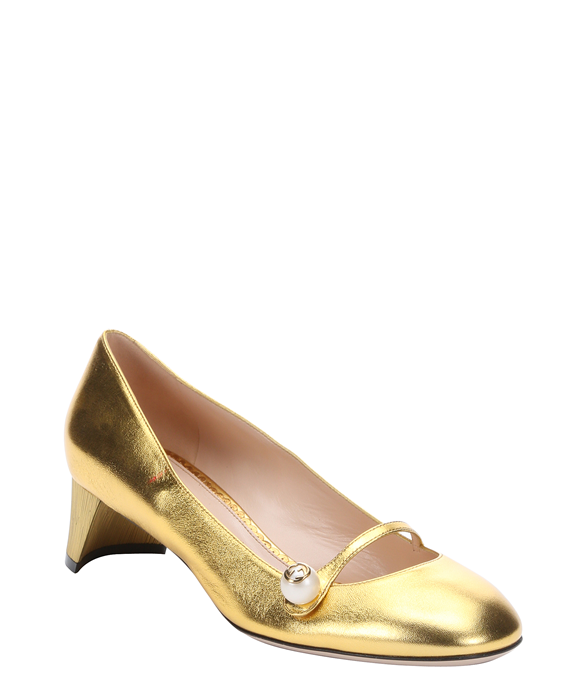 gold leather mary-jane pumps