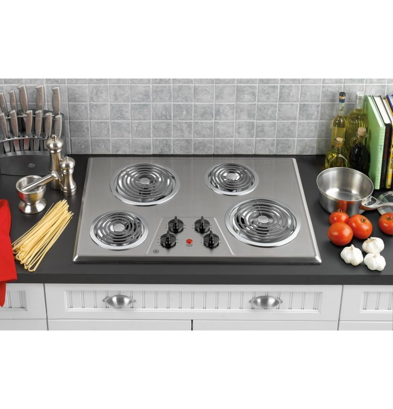Ge Jp328 30 Built In Electric Cooktop With Coil Heating Elements Stainless Steel Cooktops