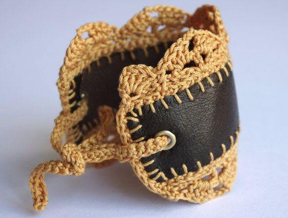 Passo A Passo De Bracelete De Couro Fazer Croche Pulseira De