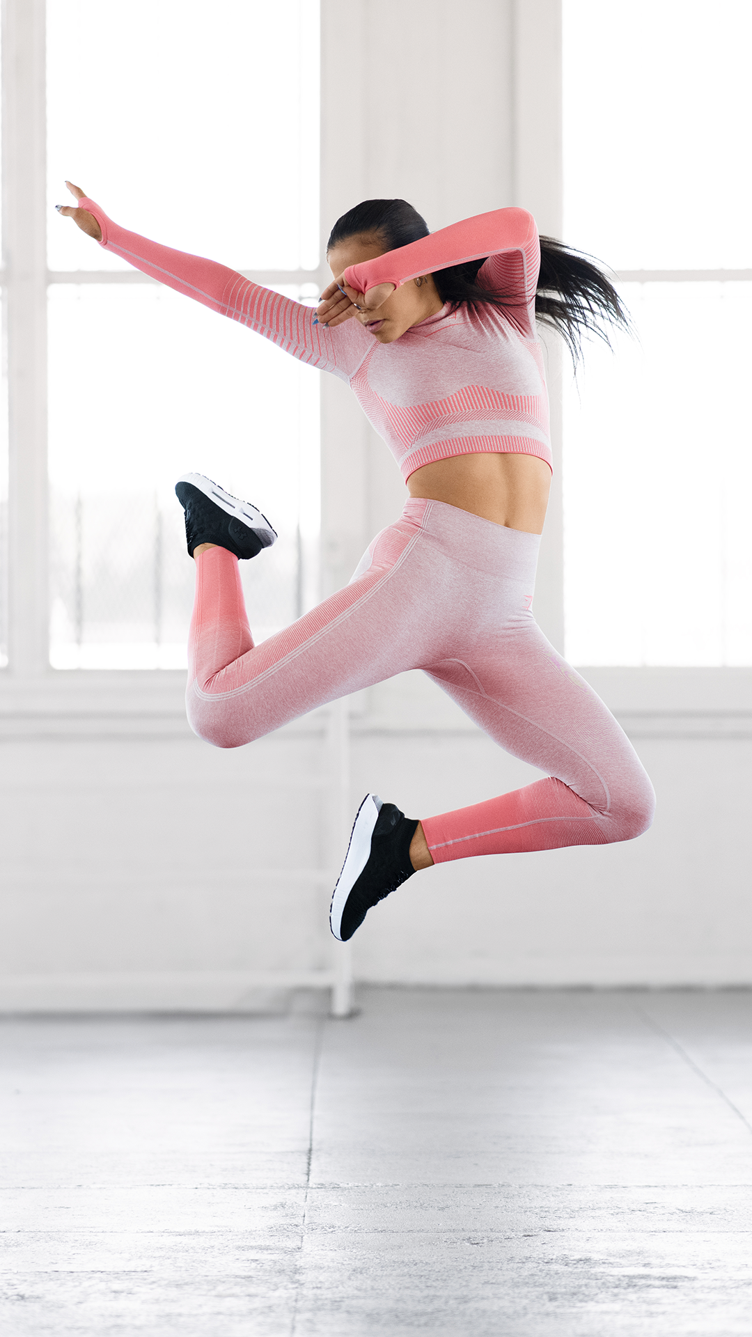 dbd3cd3361e3b Turn it up louder in the Amplify Seamless collection. #Gymshark #Leggings  #HighWaisted #Peach #Coral #Taupe #Dance #Jump #Amplify