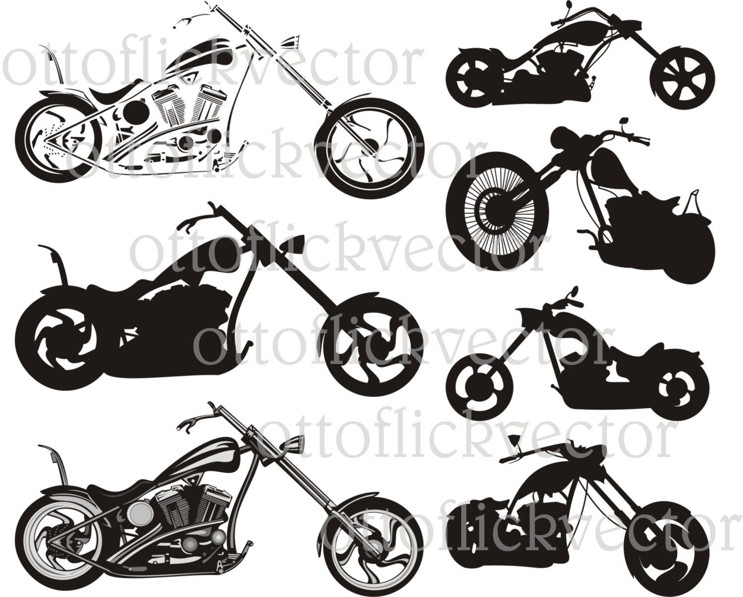 Chopper Motorcycle Vector Clipart Eps Cdr Ai