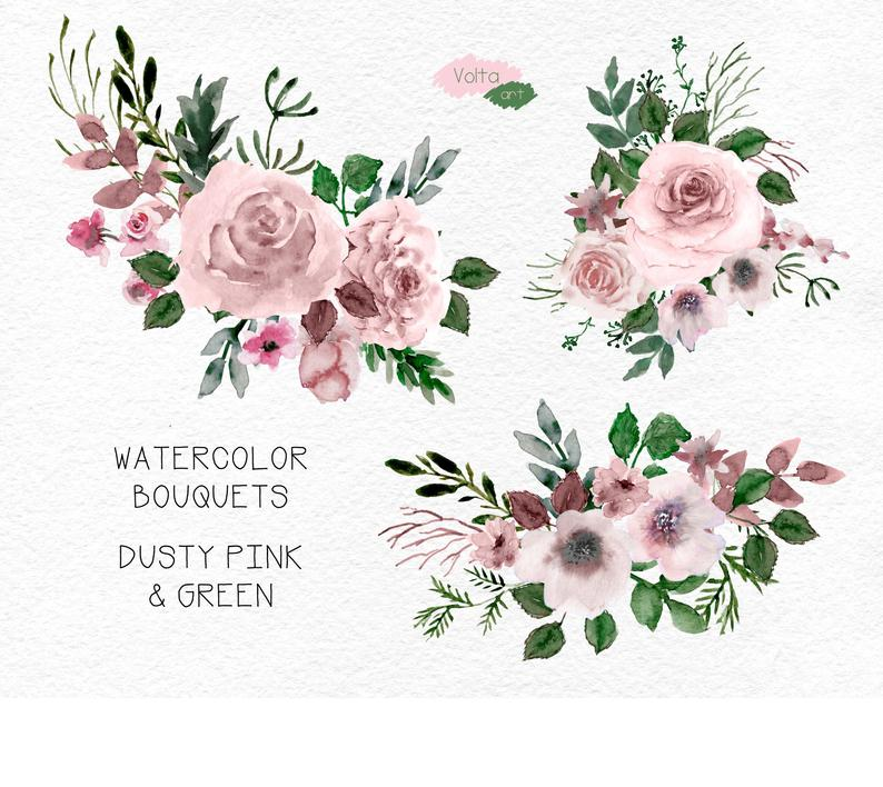Watercolor Dusty Pink Bouquets And Floral Elements Peony Roses Png Clip Art Diy Hand Painted Leaves Flowers Wedding Commercial Use In 2020 Floral Watercolor Floral Wreath Watercolor Leaf Flowers