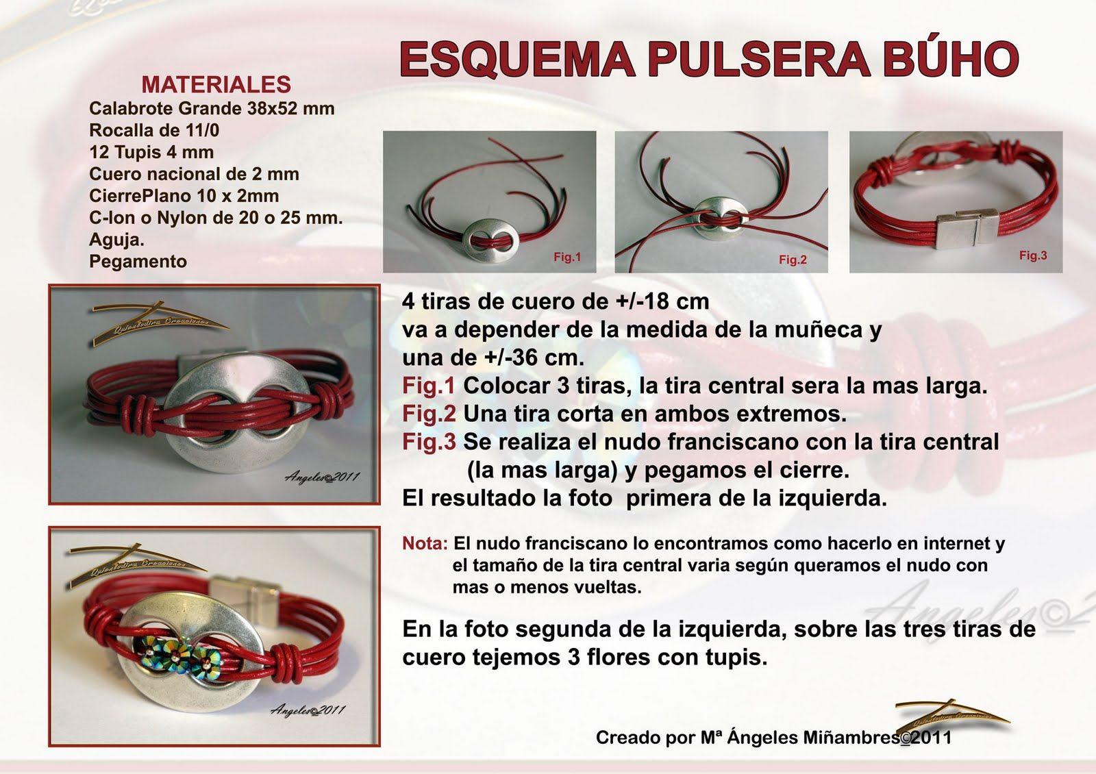 Pulsera Buho  de http://tecnicasesquemasytutoriales.blogspot.com/