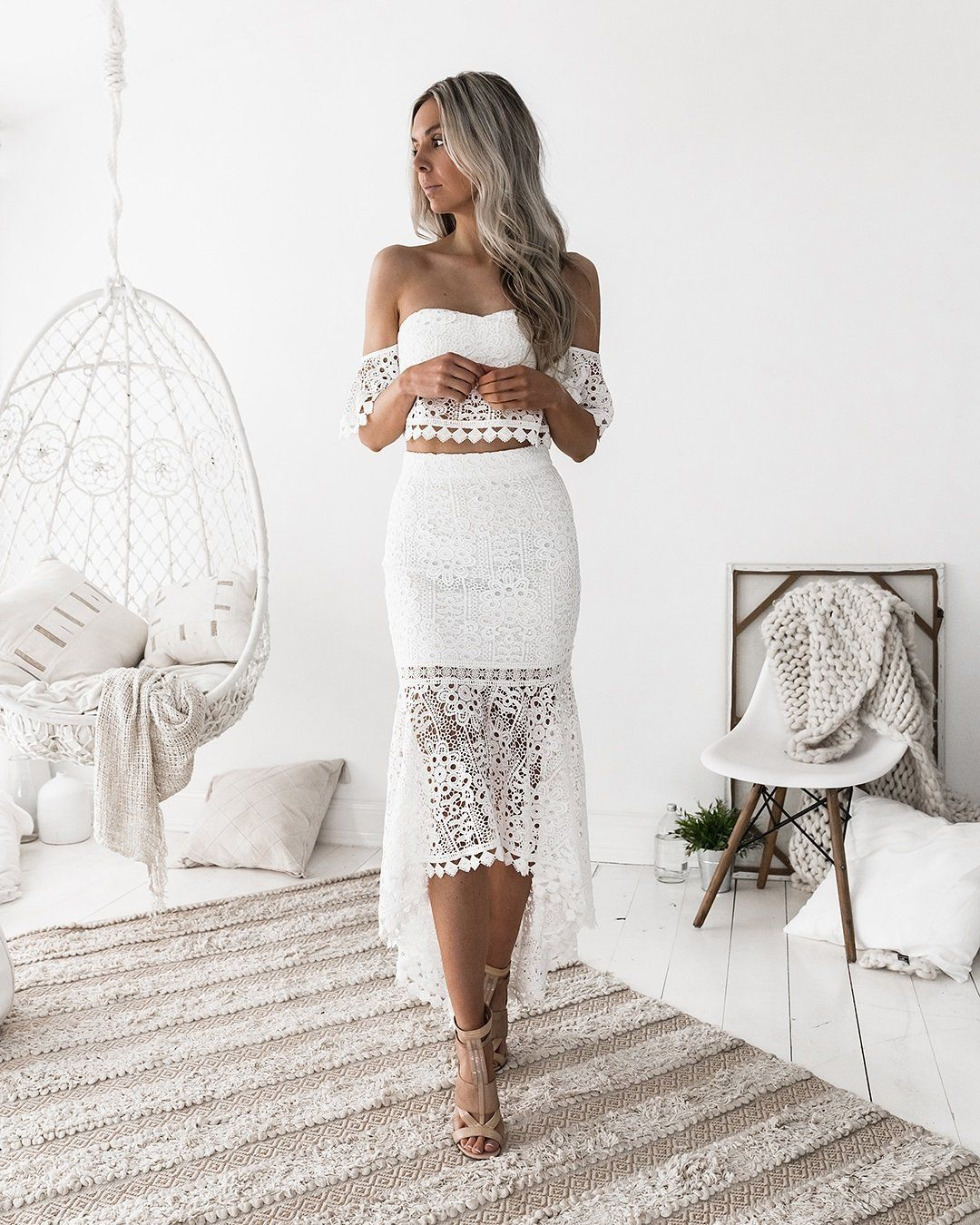 Celine Set White Lace Dress Piece Dress Two Piece Dress [ 1350 x 1080 Pixel ]