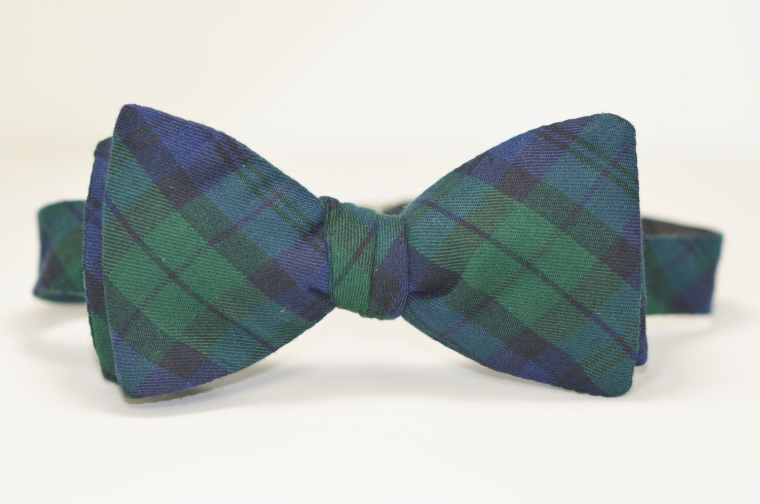 fea838f3ce5d Mens Bowtie, Freestyle Men's Bow Tie, Navy and Green Tartan Plaid Bow Tie, Blackwatch  Plaid Tie by MeandMatilda on Etsy