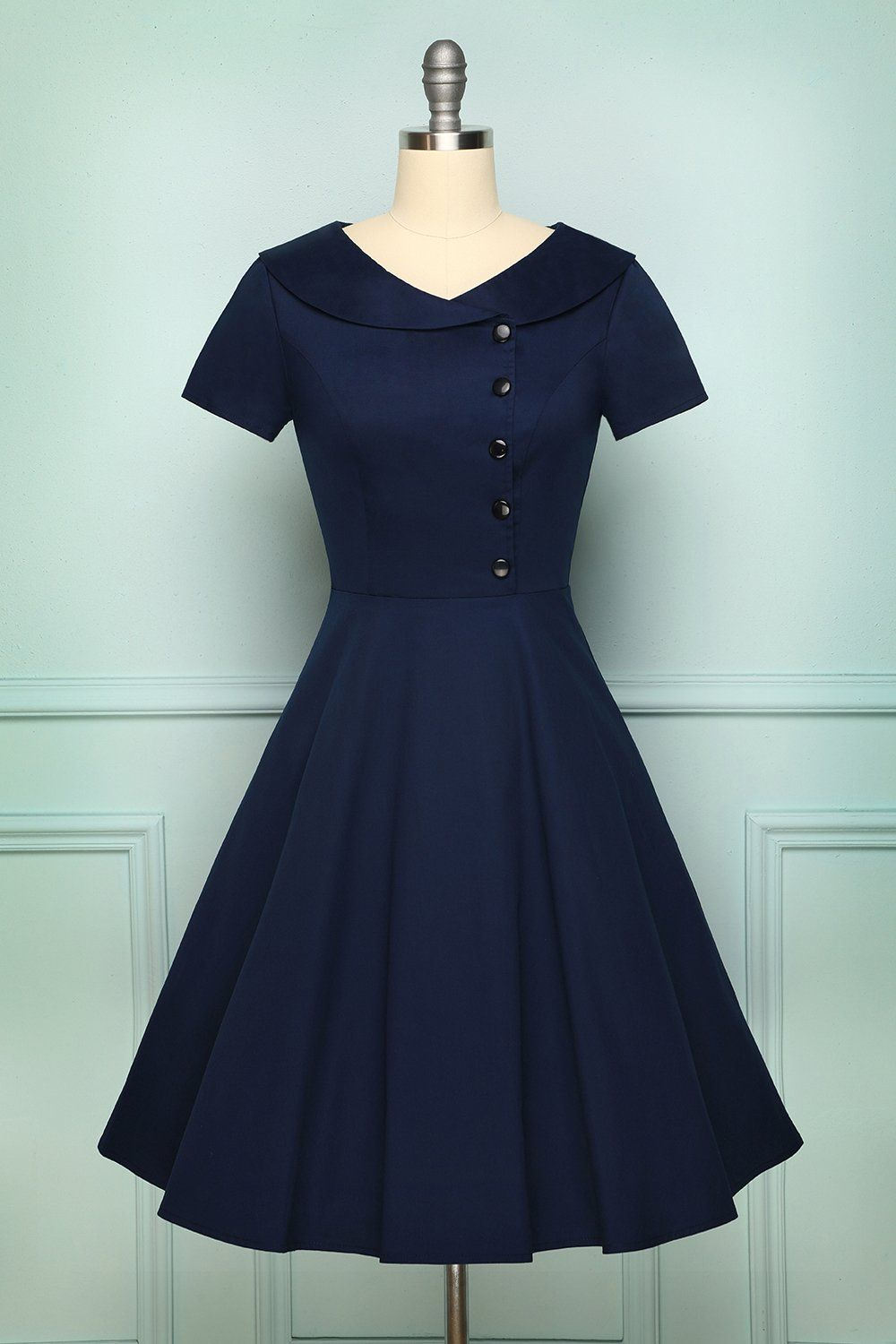 Navy Blue Button Dress In 2020 Frock For Women Navy Dress Outfits Vintage 1950s Dresses