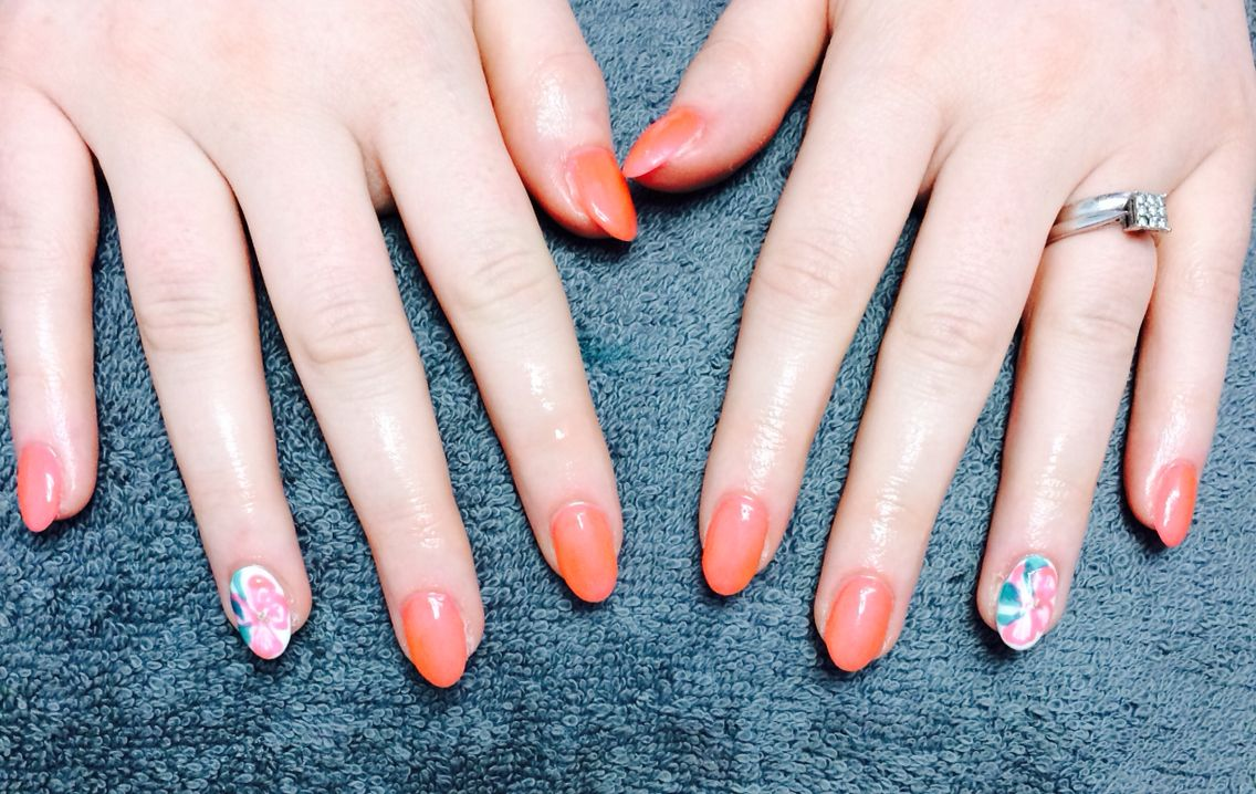 Tangerine and flower accent tia dartnells nail creations our nail tangerine and flower accent tia dartnells nail creations our nail technician here at faith hair and beauty izmirmasajfo