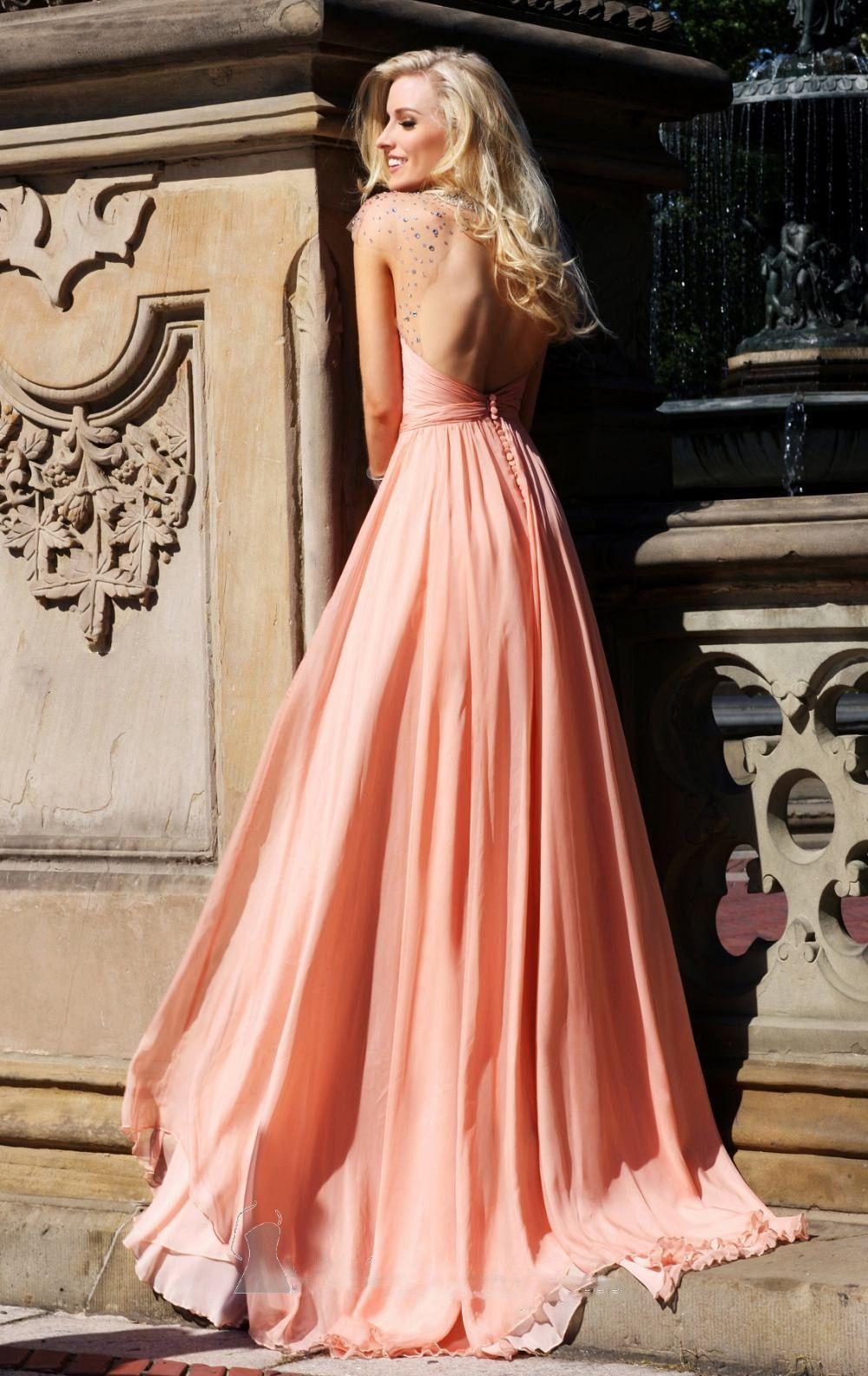 2014 vestidos de baile Corte Line Scoop Tren de la gasa partida y Lentejuelas EUR 117,88 VPXMGTC 67 - VoguePromDresses