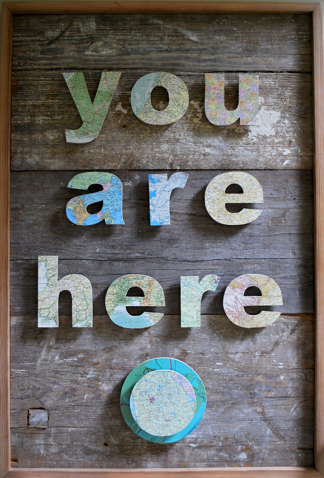 You are here barn board and map welcome sign good idea