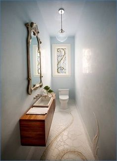 Small Narrow Bathroom Like The Skinny Sink Might Prefer A Marble Base Small Toilet Room Powder Room Design Art Nouveau Interior