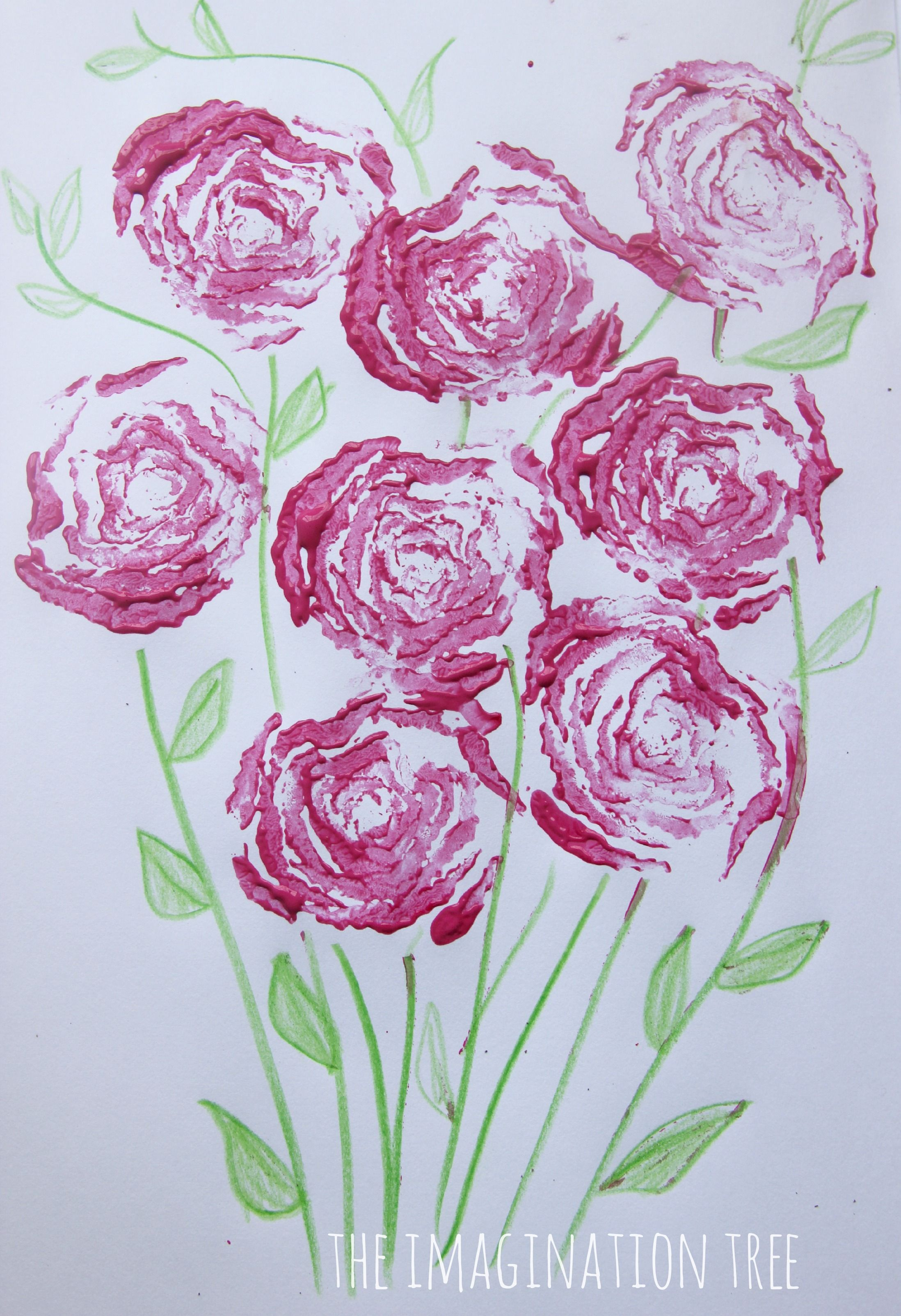 Printing Roses With Celery Stalks The Imagination Tree Easy Arts And Crafts Spring Flower Crafts Flower Crafts