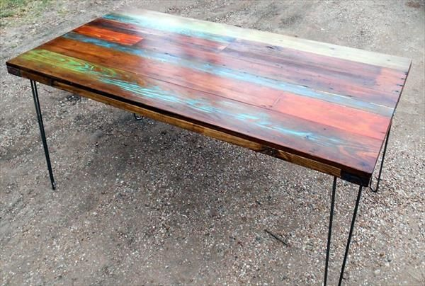I like the color   DIY Colorful Top Pallet Dining Table. multi color pallet table   Google Search   patio table top
