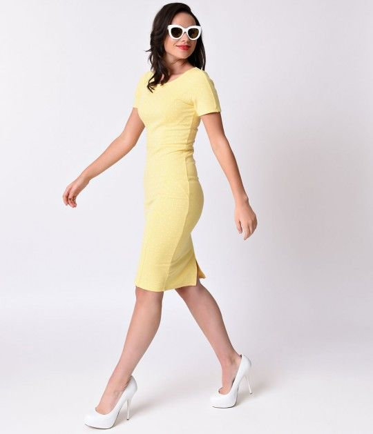 Dangerous curves ahead, darlings. Our 1960s Yellow Dotted Short Sleeve Stretch…