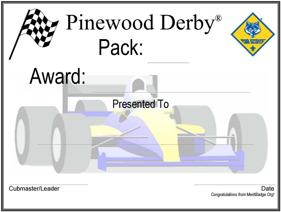 Pinewood Derby Award Certificate | Pinewood Derby | Pinterest