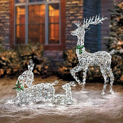Led lighted wireframe reindeer family outdoor christmas for Led outdoor christmas ornaments