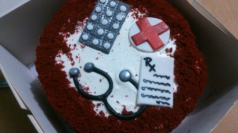 Doctor Theme Cake Red Velvet Ercream Frosting Nurse