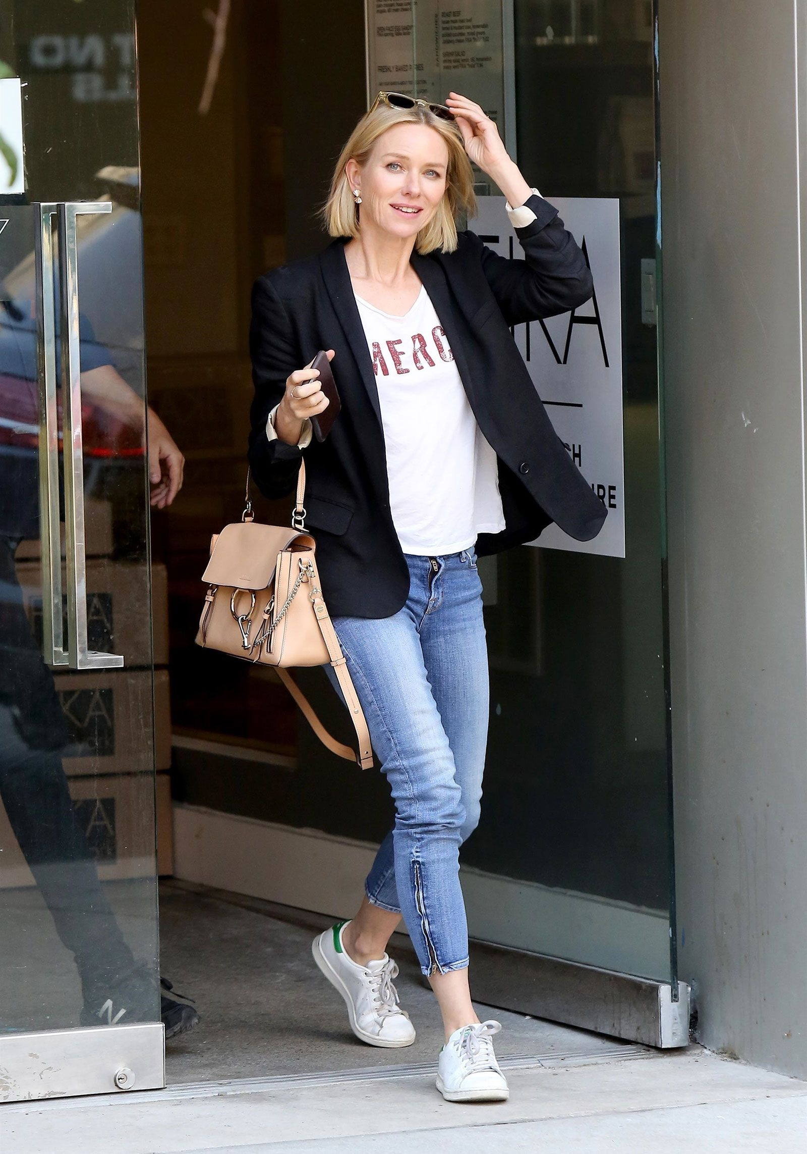 34b57e3fa6dcf Naomi Watts  Blazer and Adidas Sneakers Look for Less