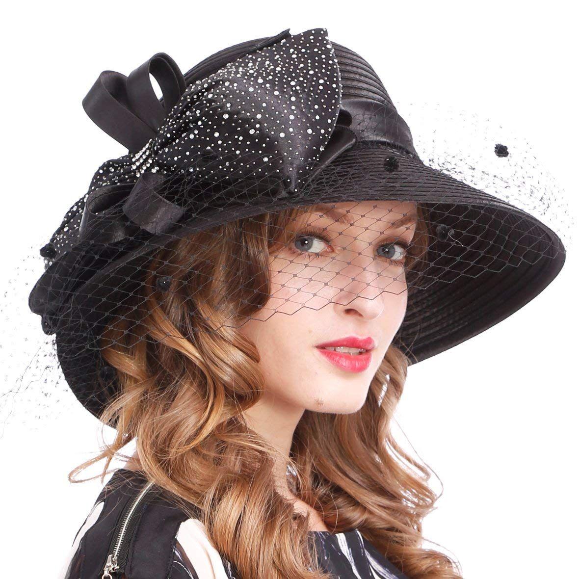 c516564e76a  29.99 Kentucky Derby Dress Church Cloche Hat Sweet Cute Floral Bucket Hat  (black) at Amazon Women s Clothing store