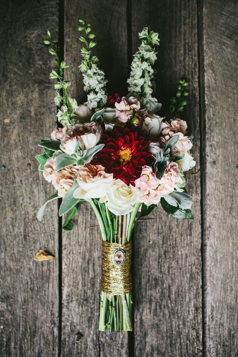 Lovely pink and peach bouquet with a touch of red