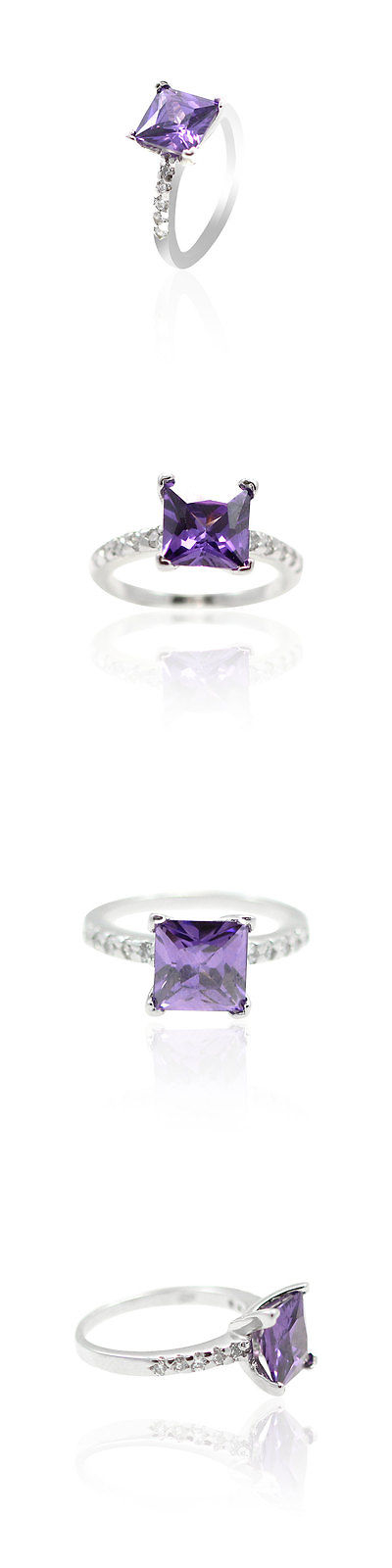 Rings 67681: Solitaire Wedding Engagement Ring Sterling Silver 2Ct Purple Amethyst Russian Cz BUY IT NOW ONLY: $30.65