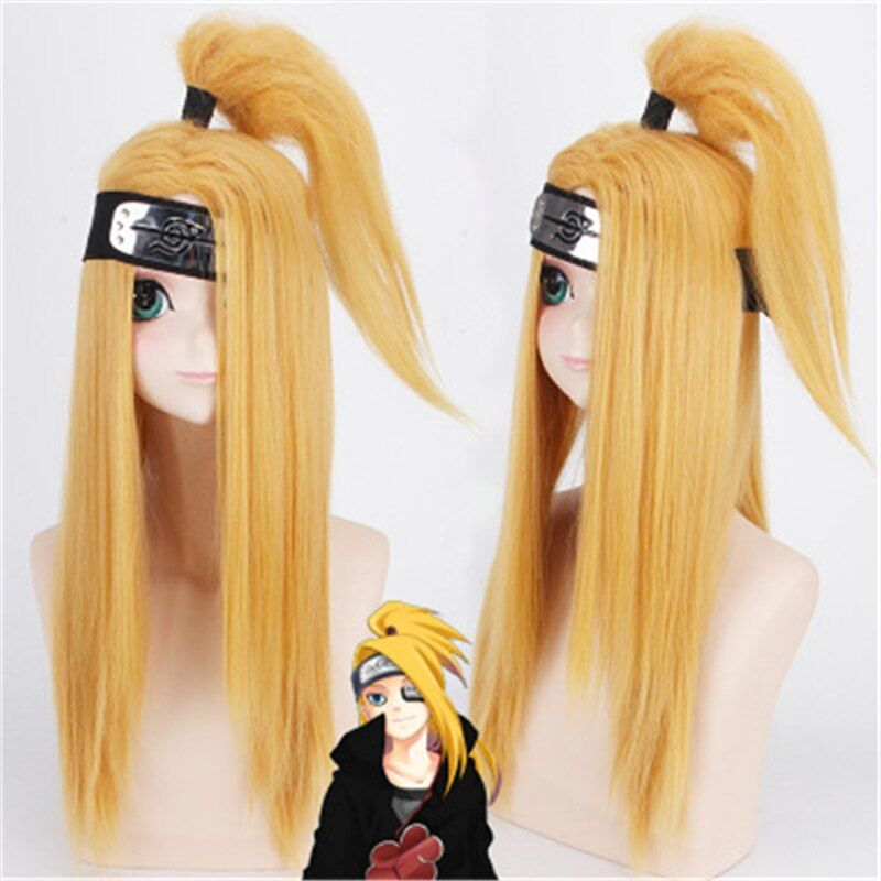 Anime wigs naruto akactuki deidara cosplay wig long blond