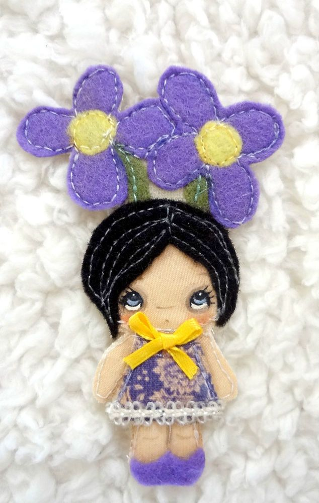 ORIGINAL FAIRY ART Purple Violets Flowers Art Doll Pin Brooch Cute Girl Big Eye
