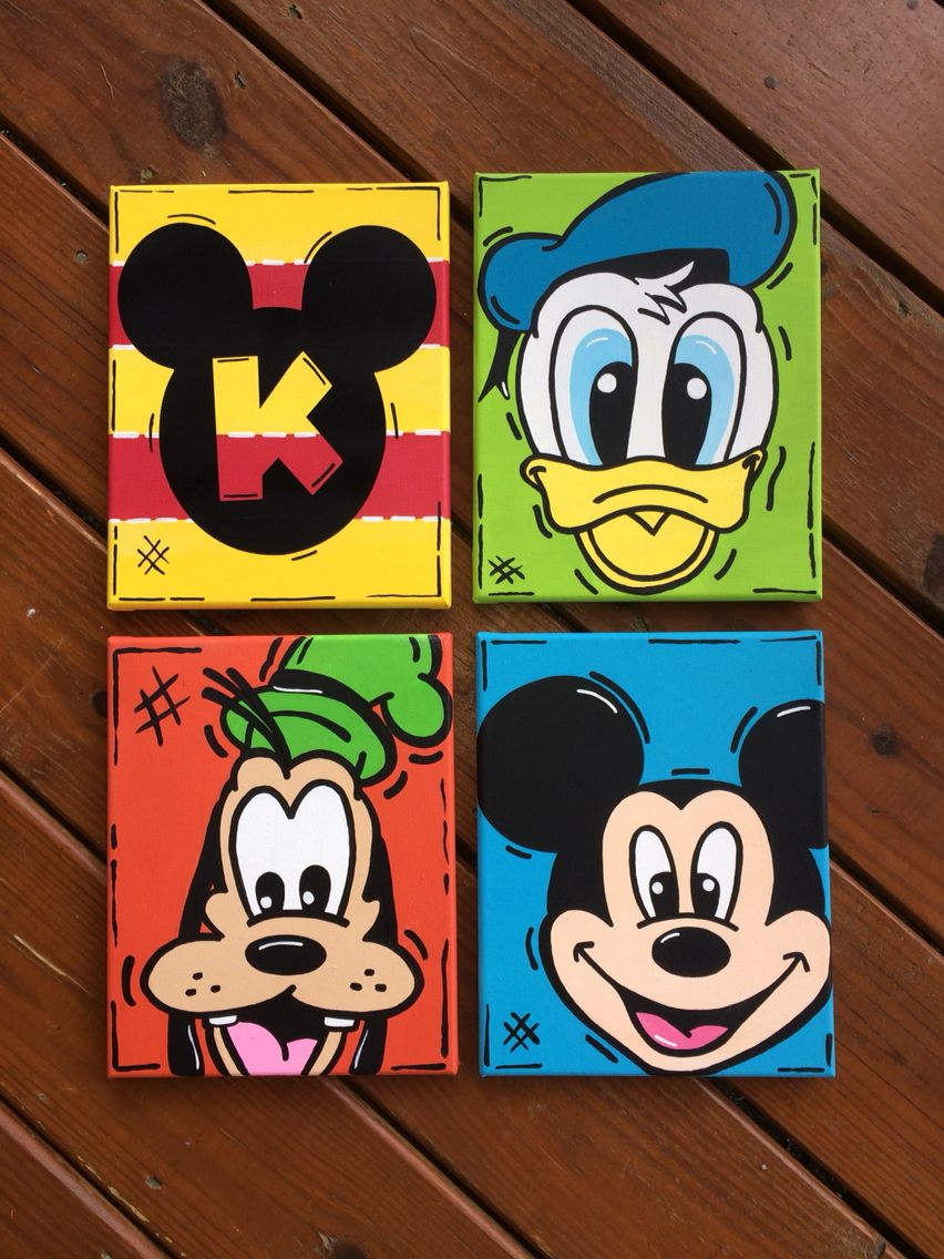 Hand painted Mickey Mouse Clubhouse Canvas | Mini canvas ...