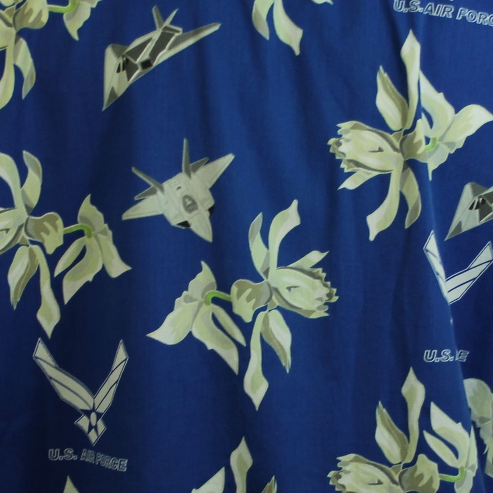 7a334277 Vtg Kamp US Air Force Blue Hawaiian Shirt Jets Stealth Bomber Mens L Aloha # Kamp #Hawaiian