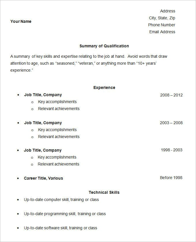 simple resume template free samples examples format download - Job Resume Format Download