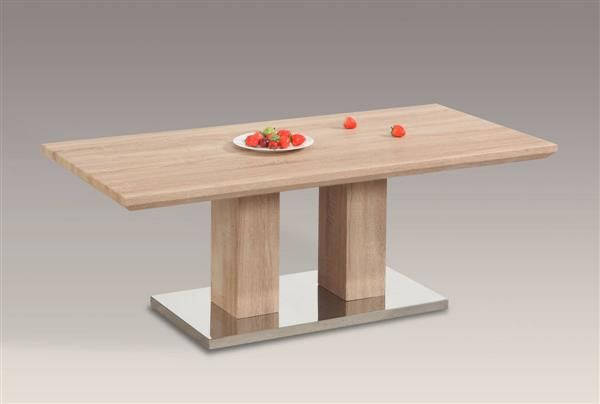 Josephine Contemporary Light Oak Wood Stainless Steel Cocktail Table