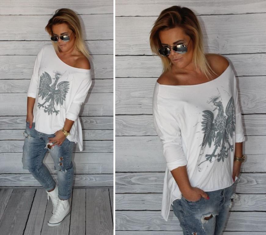 Andzela S Dekatyzowana Bluzka Oversize Orzel Ecru 5696473853 Oficjalne Archiwum Allegro Fashion T Shirts For Women Women S Top