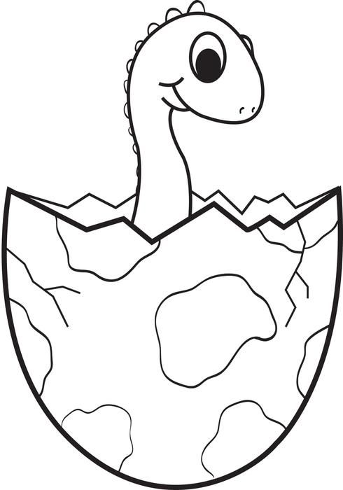 Cartoon Baby Dinosaur Coloring Page