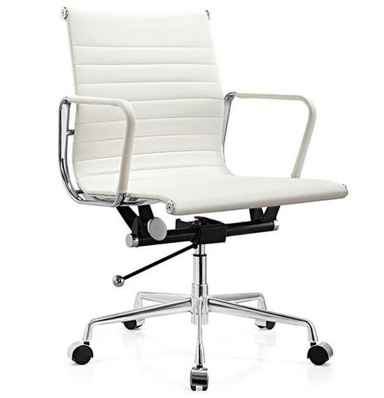 white leather modern design charles ribbed eames office chair with