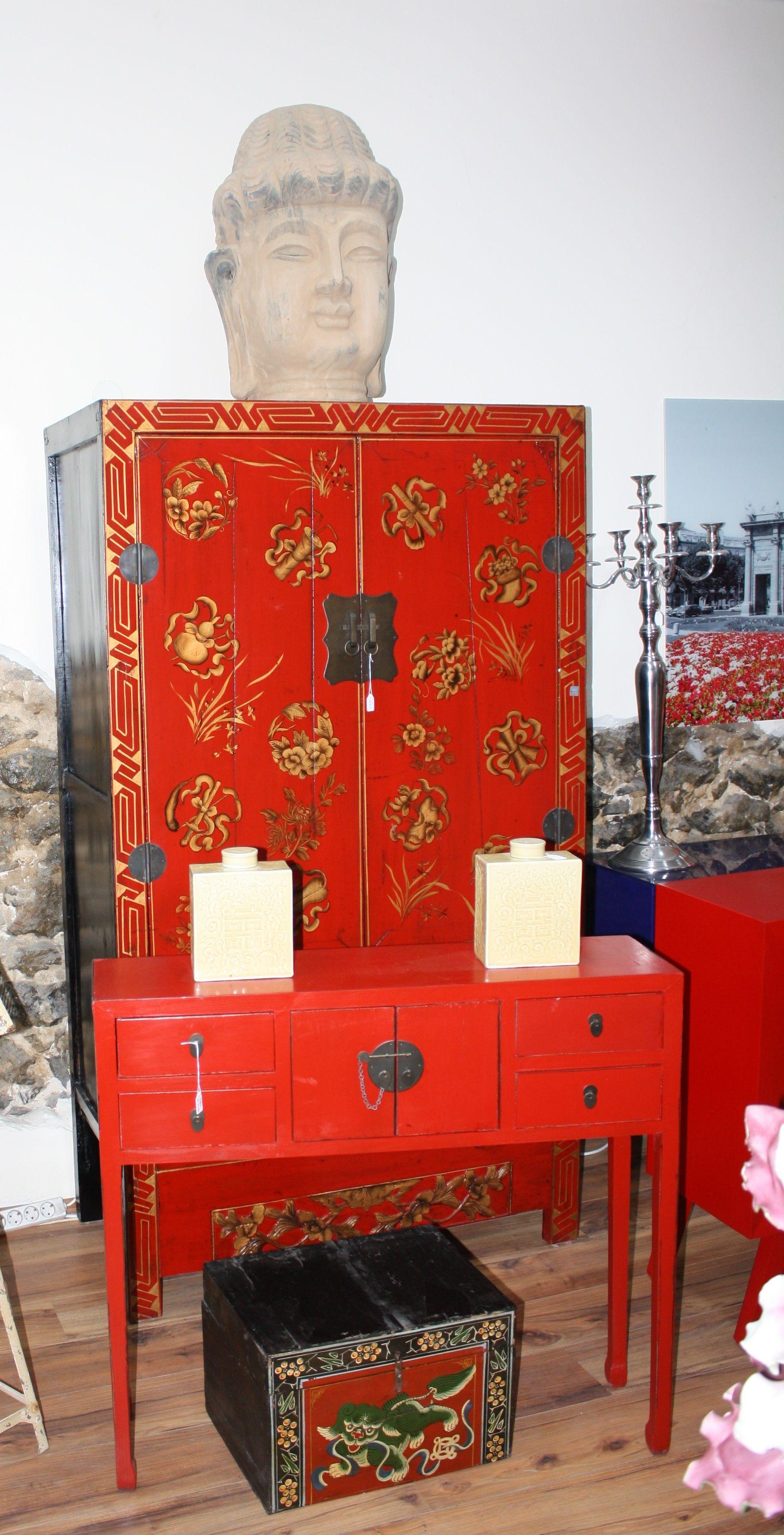 Conjunto De Armario Antiguo Chino Consola China Y Ba L Del Tibet  # Muebles Tibetanos