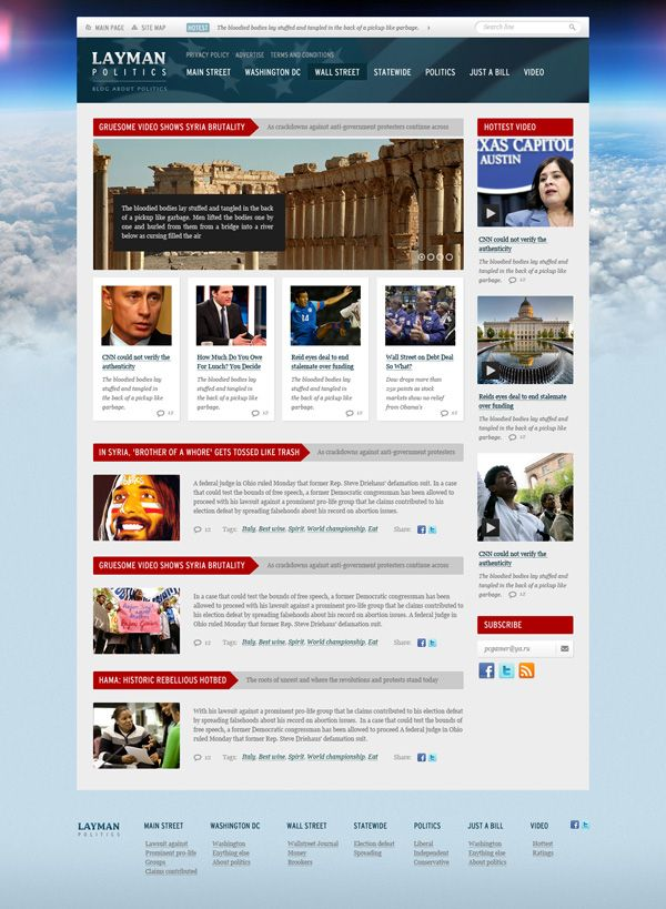 layman politics news and politics free psd website template