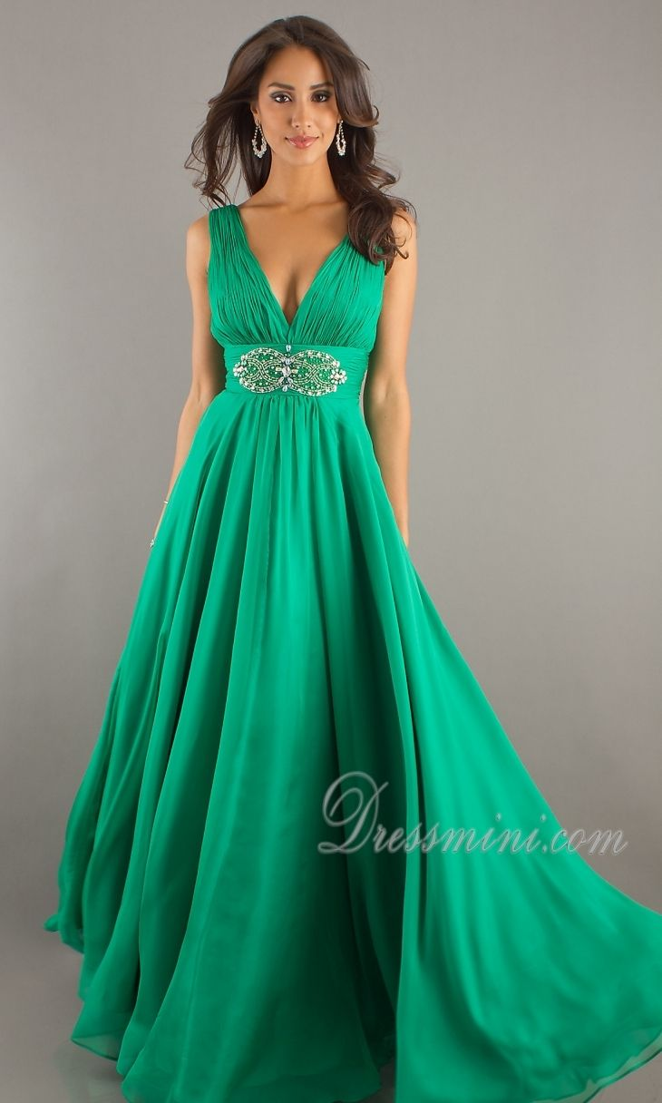Green A-Line/Princess Long/Floor-length Sleeveless Light Prom Dress ...