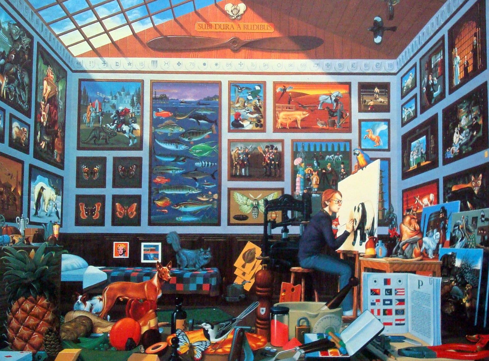 """Painter's Paradise By Mike Wilks Puzzle Within a Puzzle Over 550 Pieces JIGSAW Find Over 810 Things Starting With The Letter """"P."""""""