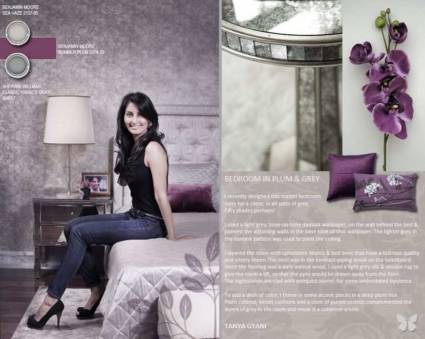 Decorate with fifty shades of grey and a dash of plum i design by tanya gyani