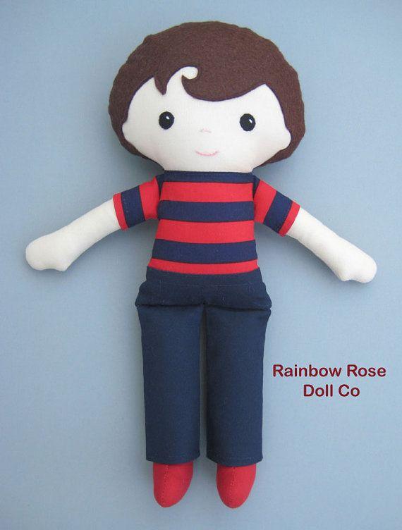 Boy Rag Doll Pattern PDF Cloth Doll Pattern by rainbowrosedollco